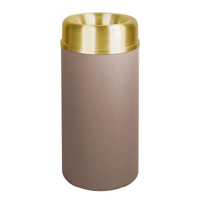 Rubbermaid FGAOT15SBBRPL 15-gal Crowne Waste Receptacle - Rigid Plastic Liner, Textured Brown/Brass