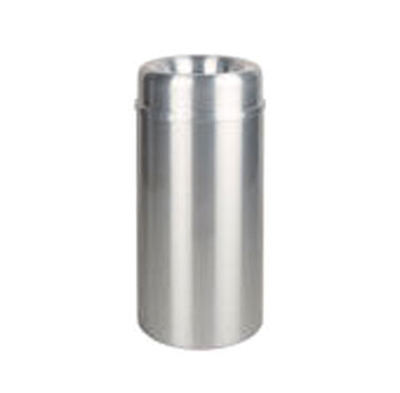 Rubbermaid FGAOT15SAPL 15-gal Crowne Waste Receptacle - Rigid Plastic Liner, Satin Aluminum