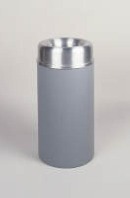 Rubbermaid FGAOT15SAGRPL 15-gal Crowne Waste Receptacle - Rigid Plastic Liner, Textured Gray/Aluminum