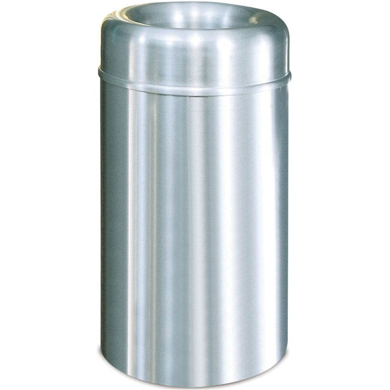 Rubbermaid FGAOT30SAPL 30-gal Indoor Decorative Trash Can - Metal, Satin Aluminum