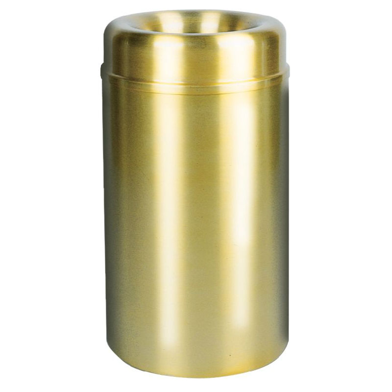 Rubbermaid FGAOT30SBPL 30-gal Crowne Waste Receptacle - Rigid Plastic Liner, Satin Brass