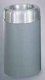 Rubbermaid FGAOT30SAGRPL 30 gal Crowne Collection Receptacle, Indoor, Rigid Liner, Textured Gray/Aluminum