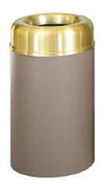 Rubbermaid FGAOT30SBBRPL 30-gal Crowne Waste Receptacle - Open Top, Brown/Brass