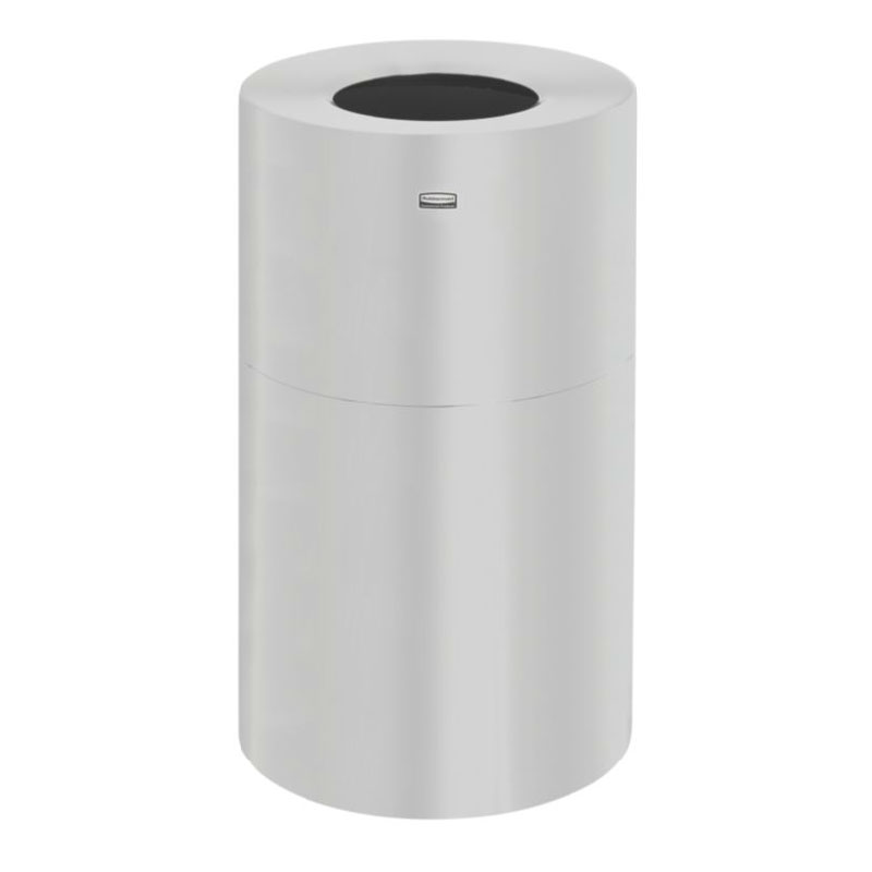 Rubbermaid FGAOT35SAGL 21-gal Designer Line Waste Receptacle - Galvanized Liner, Satin Aluminum