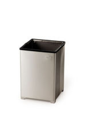 Rubbermaid FGB1414SSPL 10-1/2-gal Clean Room Waste Receptacle - Open Top, Rigid Liner, Stainless