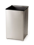 Rubbermaid FGB1940SSRB 40-gal Clean Room Waste Receptacle - Open Top, Stainless