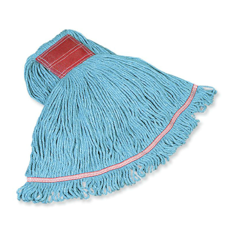 "Rubbermaid FGC11406BL00 XLarge Swinger Loop Wet Mop - 1"" Headband, 4-Ply Cotton/Synthetic, Blue"