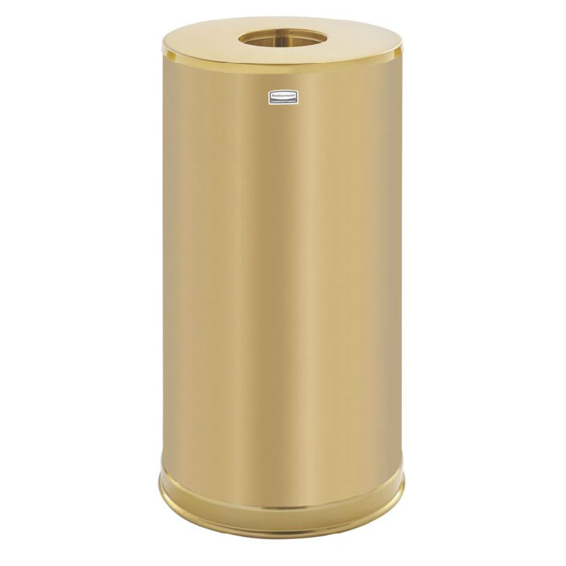 Rubbermaid FGCC16SBSGL 15-gal Indoor Decorative Trash Can - Metal, Satin Brass