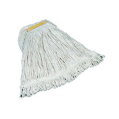 "Rubbermaid FGD11106WH00 Small Super Stitch Wet Mop Head - 4-Ply Cotton, 1"" Yellow Headband, White"