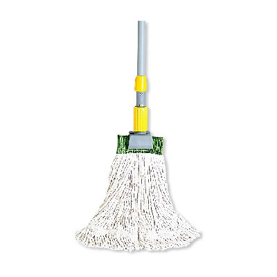 "Rubbermaid FGD11306WH00 Large Super Stitch Wet Mop Head - 4-Ply Cotton, 1"" Headband, White"
