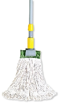"Rubbermaid FGD11206WH00 Medium Super Stitch Wet Mop Head - 4-Ply Cotton, 1"" Green Headband, White"