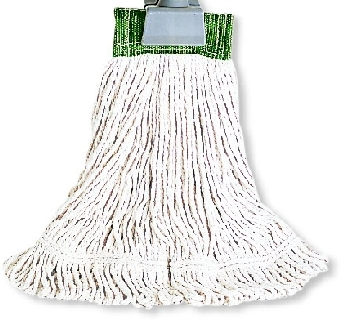 "Rubbermaid FGD15306WH00 Large Super Stitch Wet Mop Head - 4-Ply Cotton, 5"" Headband, White"