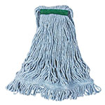 "Rubbermaid FGD21206BL00 Small Super Stitch Wet Mop Head - 4-Ply Cotton/Synthetic, 1"" Headband, Blue"