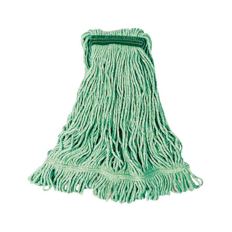 "Rubbermaid FGD21206GR00 Small Super Stitch Wet Mop Head - 4-Ply Cotton/Synthetic, 1"" Headband, Green"