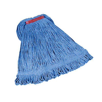 "Rubbermaid FGD21306BL00 Large Super Stitch Mop Head - 4-Ply Cotton/Synthetic, 1"" Headband, Blue"