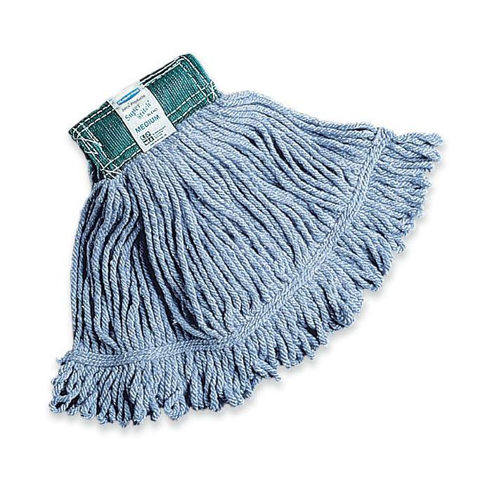 "Rubbermaid FGD25206BL00 Medium Super Stitch Mop Head - 4-Ply Cotton/Synthetic, 5"" Headband, Blue"