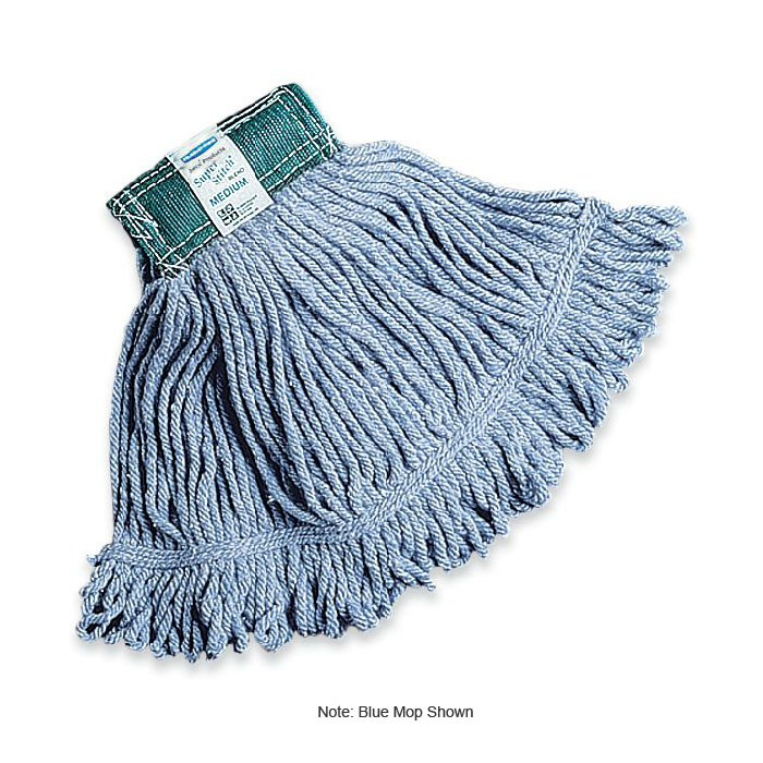 "Rubbermaid FGD25206WH00 Medium Super Stitch Mop Head - 4-Ply Cotton/Synthetic, 5"" Headband, White"