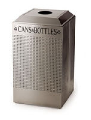 Rubbermaid FGDCR24C SM 29-gal Square Recycling Container - Cans/Bottles, Rigid Liner, Silver Metallic