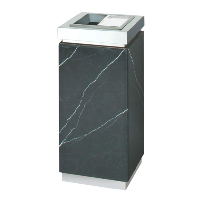 Rubbermaid FGDM12SUTMBM 5-gal Ash/Trash Receptacle - Galvanized Liner, Marquina Black/Mirror Stainless