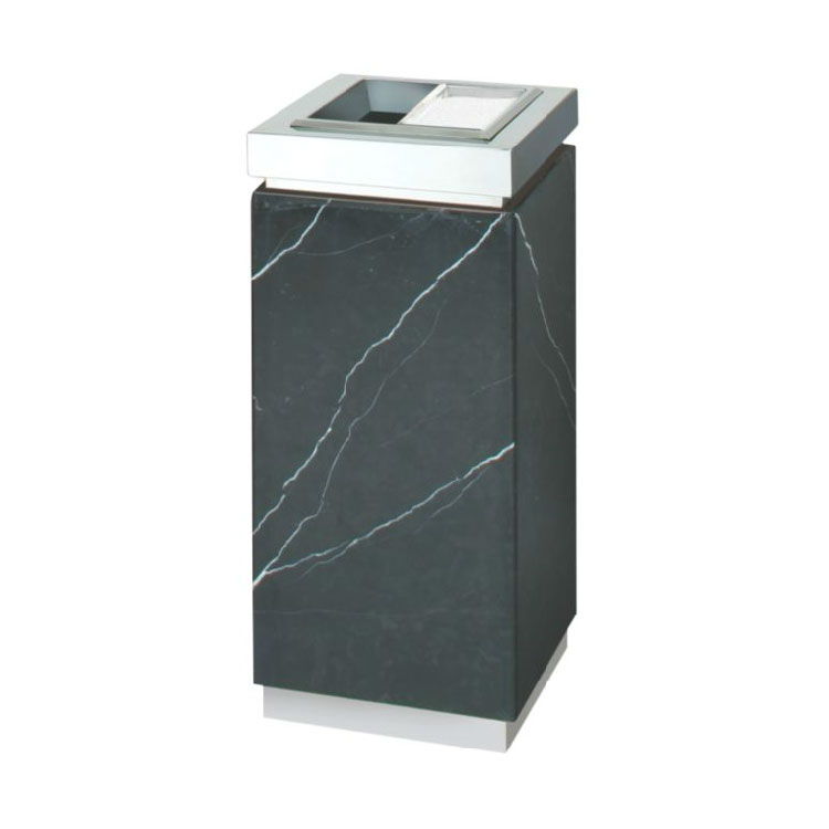 Rubbermaid FGDM12TMBM 5-gal Trash Receptacle - Galvanized Liner, Marquina Black/Mirror Stainless