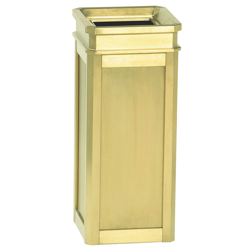 Rubbermaid FGDS12TSBS 5-gal Trash Receptacle - Galvanized Liner, Satin Brass Stainless