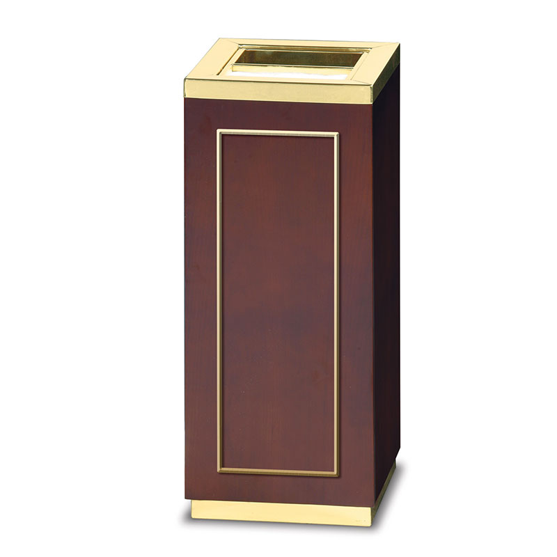 Rubbermaid FGDW12SUTMAH 5-gal Ash/Trash Receptacle - Galvanized Liner, Mahogany/Mirror Brass Stainless