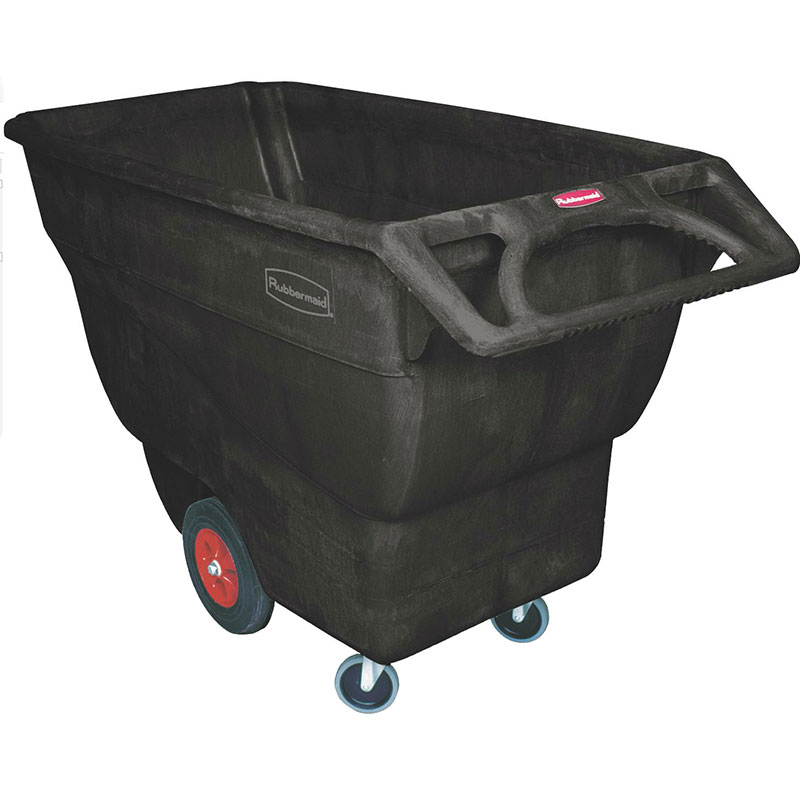 Rubbermaid FG101300 BLA .75-cu yd Trash Cart w/ 800-lb Capacity, Black