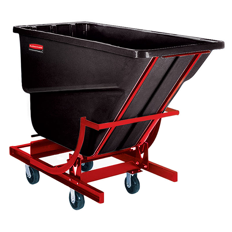 "Rubbermaid FG105443 BLA Self-Dumping Hopper - 0.5 cu yd, 750-lb Capacity, (4) 6"" Castors, Black"