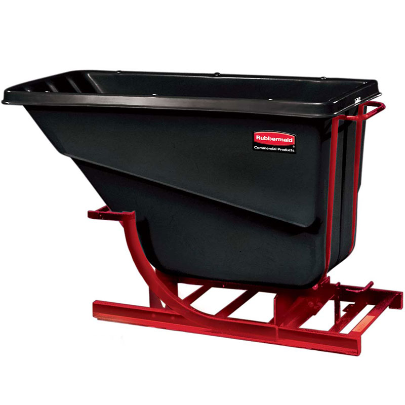 Rubbermaid FG107400 BLA Self-Dumping Hopper - 2.5 cu yd, 1000-lb Capacity, Black