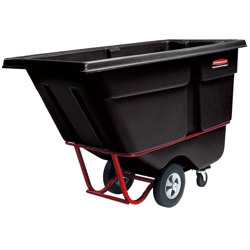 Rubbermaid FG131500BLA 1-cu yd Trash Cart w/ 1250-lb Capacity, Black