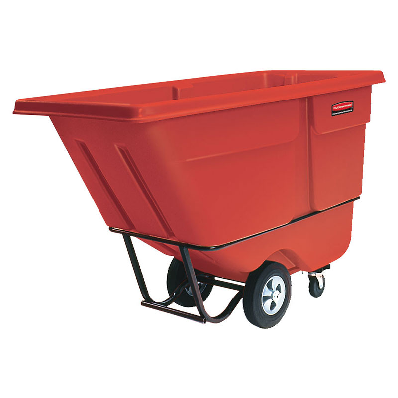 Rubbermaid FG131500RED 1-cu yd Trash Cart w/ 1250-lb Capacity, Red