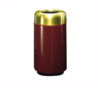 Rubbermaid FG1630TSBPLBYW 15-gal Waste Receptacle - Open Top, Brass/Fiberglass, Burgundy Wine