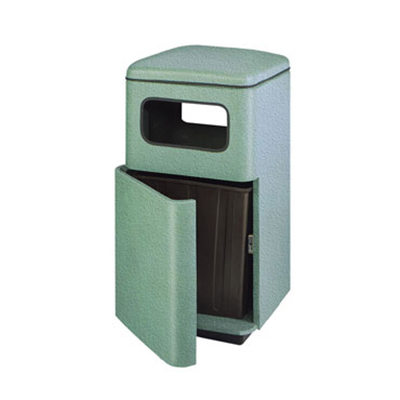 Rubbermaid FG2449SQPLPEWT Waste Receptacle 48 Gal 24 in Square Plastic Liner In / Out Pewter DuraTone Restaurant Supply