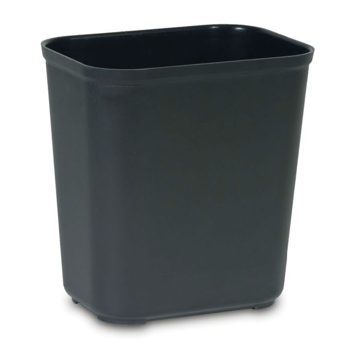 Rubbermaid FG254300BLA 28-qt Rectangle Waste Basket - Plastic, Black