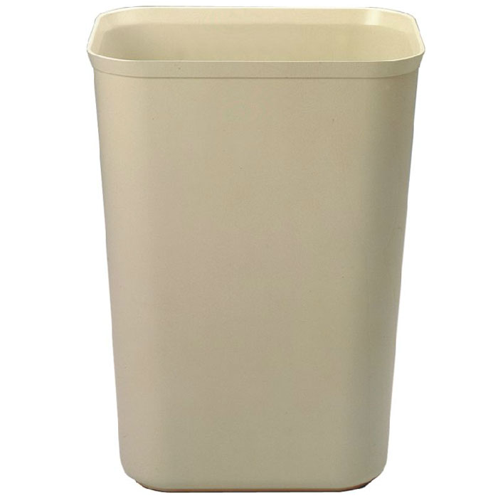 Rubbermaid FG254400BEIG 40-qt Rectangle Waste Basket - Plastic, Beige
