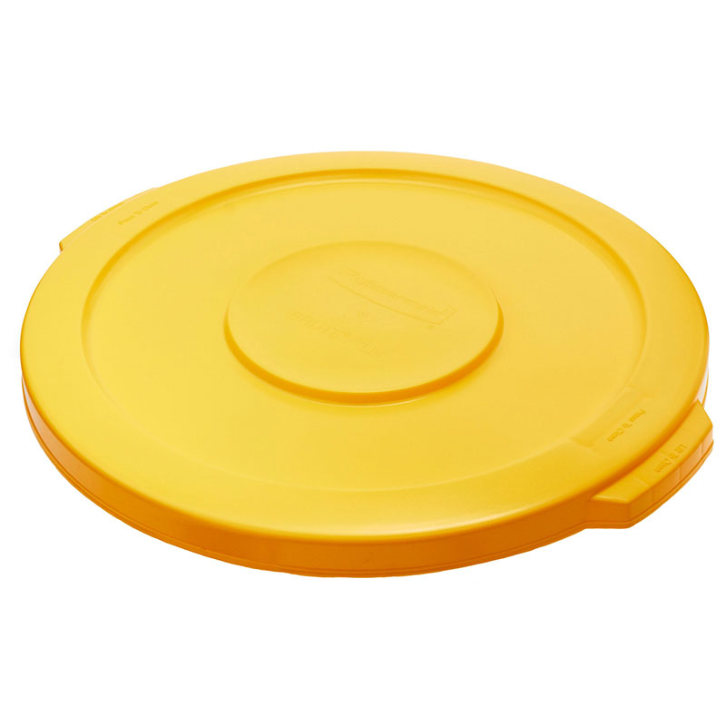 Rubbermaid FG260900YEL Round Flat Top Trash Can Lid - Plastic, Yellow