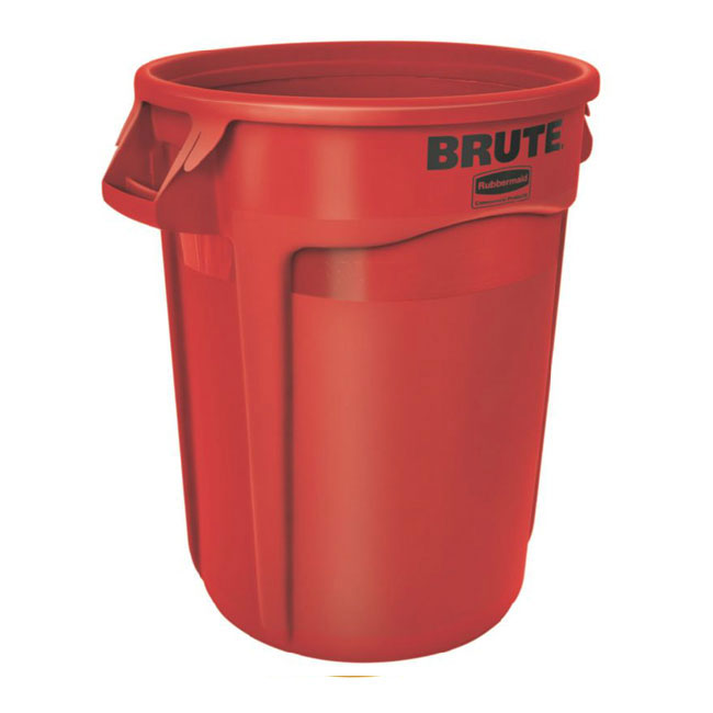 Rubbermaid FG261000RED 10-gallon Brute Trash Can - Plastic, Round, Food Rated
