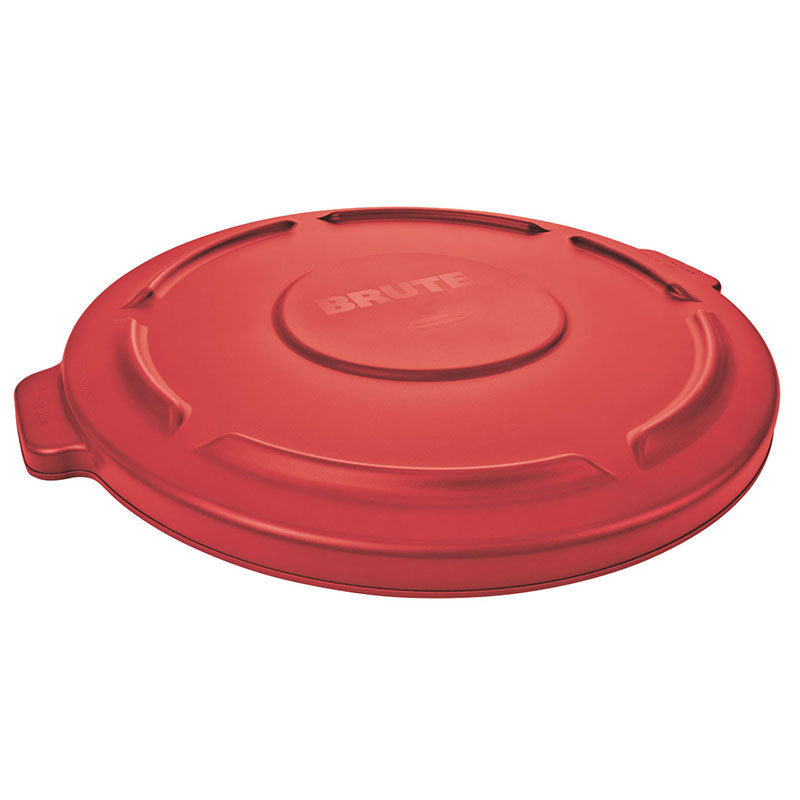 Rubbermaid FG261960RED Round Flat Top Trash Can Lid - Plastic, Red