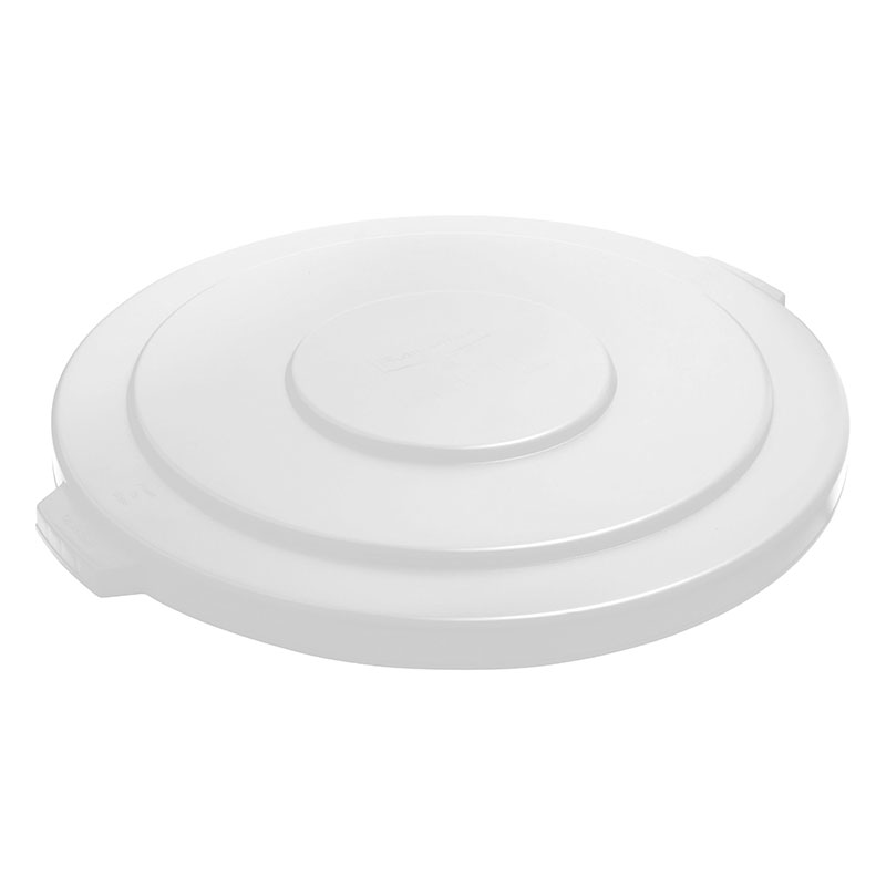 Rubbermaid FG265400WHT Round Flat Top Trash Can Lid - Plastic, White