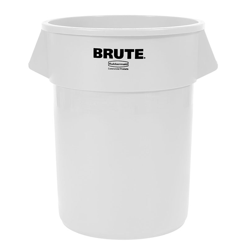 Rubbermaid FG265500WHT 55-gallon Brute Trash Can - Plastic, Round, Food Rated
