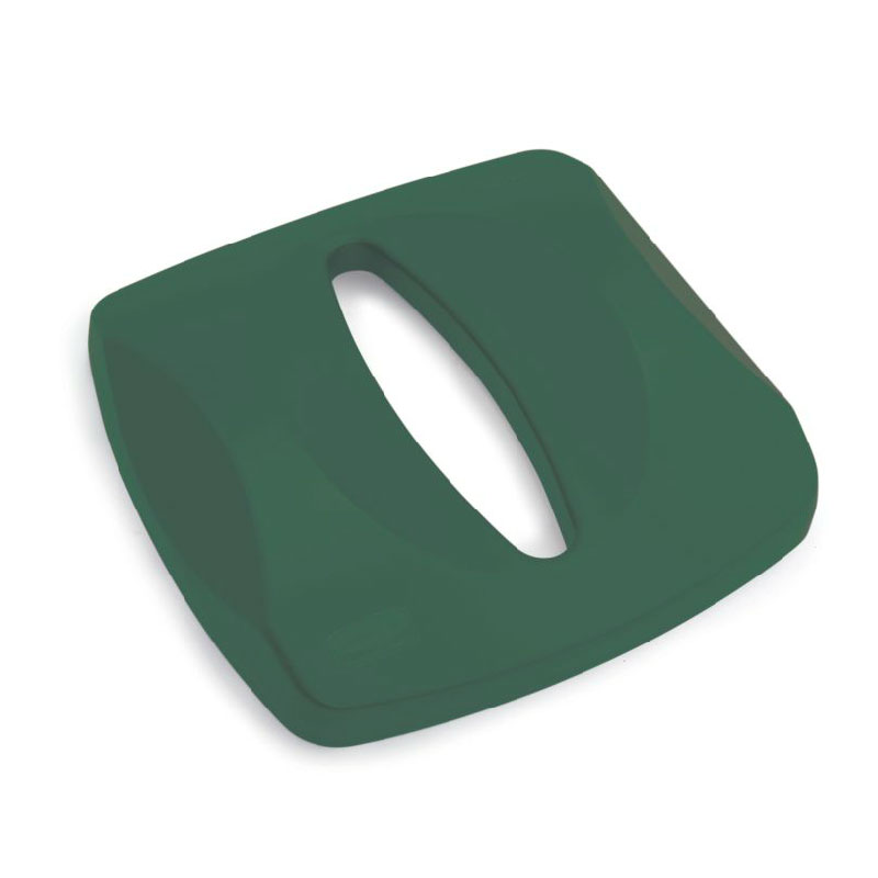 "Rubbermaid FG269000GRN Untouchable Paper Recycling Top - 16x16x3-1/8"" Green"