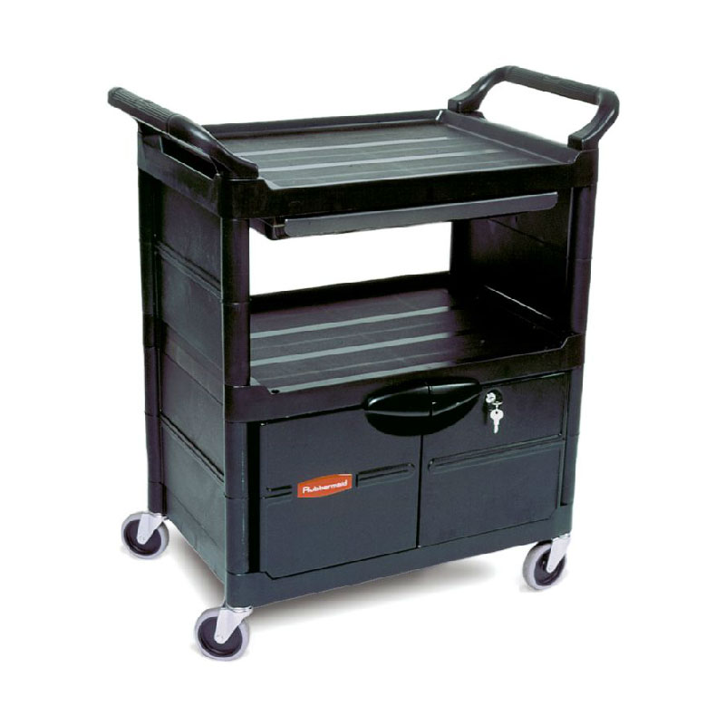 Rubbermaid FG345700BLA 3-Level Polymer Utility Cart w/ 200-lb Capacity, Raised Ledges