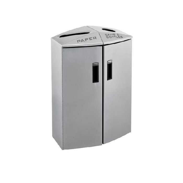 Rubbermaid 3485990 24-gal Multiple Material Recycle Bin - Indoor, Multiple Sections & Decorative