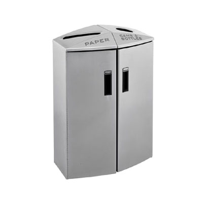 Rubbermaid 3485992 24-gal Multiple Material Recycle Bin - Indoor, Multiple Sections & Decorative