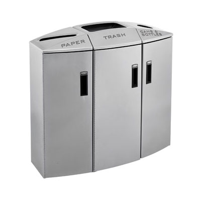 Rubbermaid 3486007 44-gal Multiple Material Recycle Bin - Indoor, Multiple Sections & Decorative