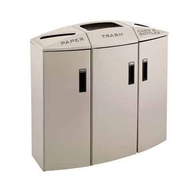 Rubbermaid 3486010 44-gal Multiple Material Recycle Bin - Indoor, Multiple Sections & Decorative