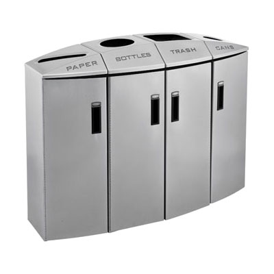 Rubbermaid 3486013 57-gal Recycling Station - Plastic Liner, 4 Waste Stream, Lock, Silver Metallic