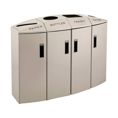 Rubbermaid 3486016 57-gal Multiple Material Recycle Bin - Indoor, Multiple Sections & Decorative