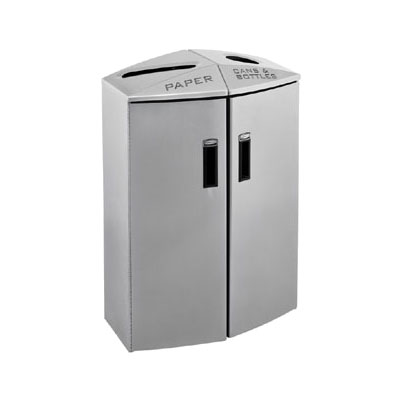 Rubbermaid 3486040 24-gal Multiple Material Recycle Bin - Indoor, Multiple Sections & Decorative