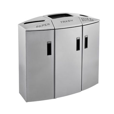 Rubbermaid 3486042 60-gal Recycling Station - Slide-Out Liner, 4 Waste Stream, Silver Metallic